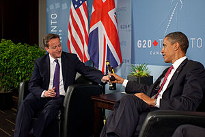 English: US President Barack Obama and British...