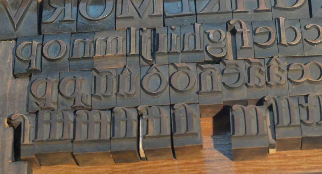 Metal type at the Plantain Museum in Antwerp