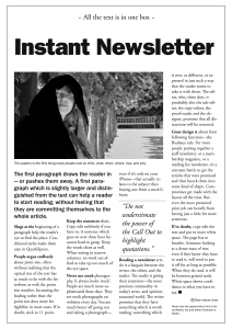 A one page newsletter