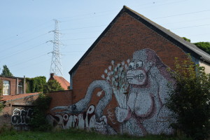 Graffiti art in the ghost-village of Doel, scheduled for demolition.